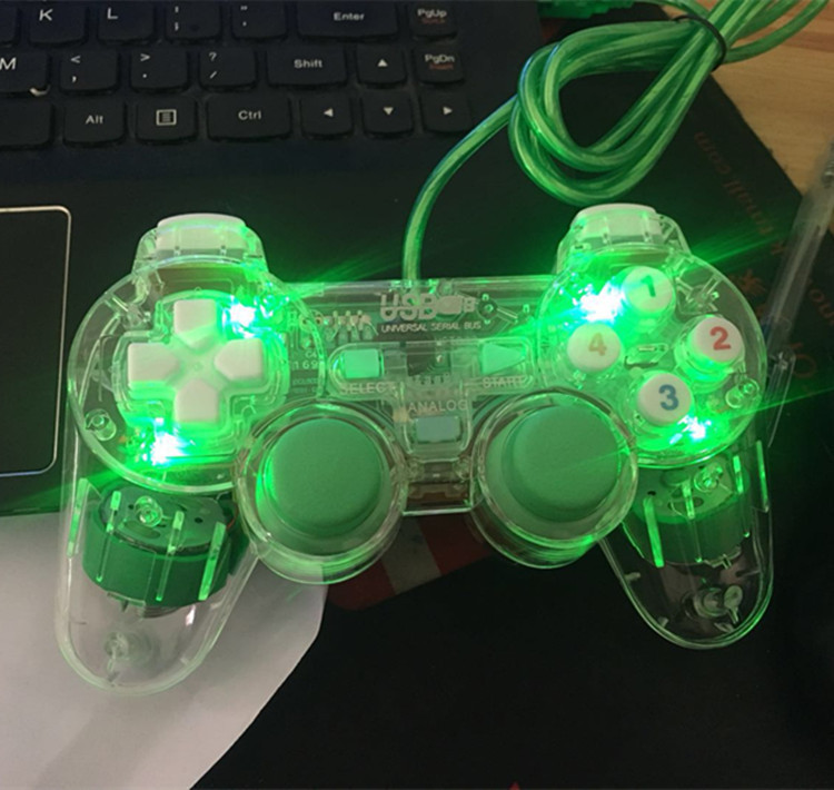 Hot Selling Computer Game Handle PC Handle of Wired Game Console Game Handle USB Interface Transparent Shining Light Included