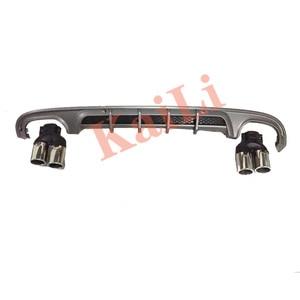Image 2 - Difusor de parachoques trasero de materiales PP para mercedes benz Clase C W205 difusores de versión deportiva de Sedan Regurlar de 4 puertas con puntas de escape