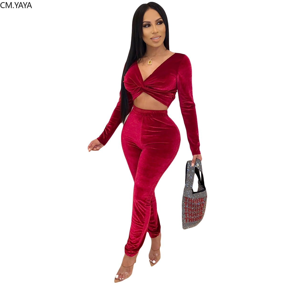 GL Autumn Winter Women's Set Full Sleeve V-Neck Crop Top Long Leggings Pants Solid Velvet Two Piece Set Tracksuit Outfits YY5132