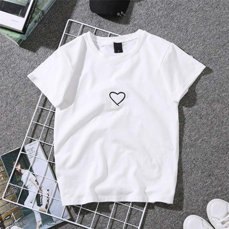 For Girl Women Love Heart Letter Printed T-Shirt Casual White Casual Tops Tshirt New Fashion Embroidery Shirt Short Sleeve Tops