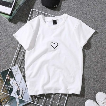 For Girl Women Love Heart Letter Printed T-Shirt Casual White Casual Tops Tshirt New Fashion Embroidery Shirt Short Sleeve Tops letter embroidery t shirt
