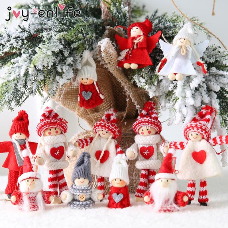 2pcs Merry Christmas Ornament Angel Dolls Xmas Tree Decor Hanging Elf Pendant Christmas Home Decorations New Year kid Gift Noel