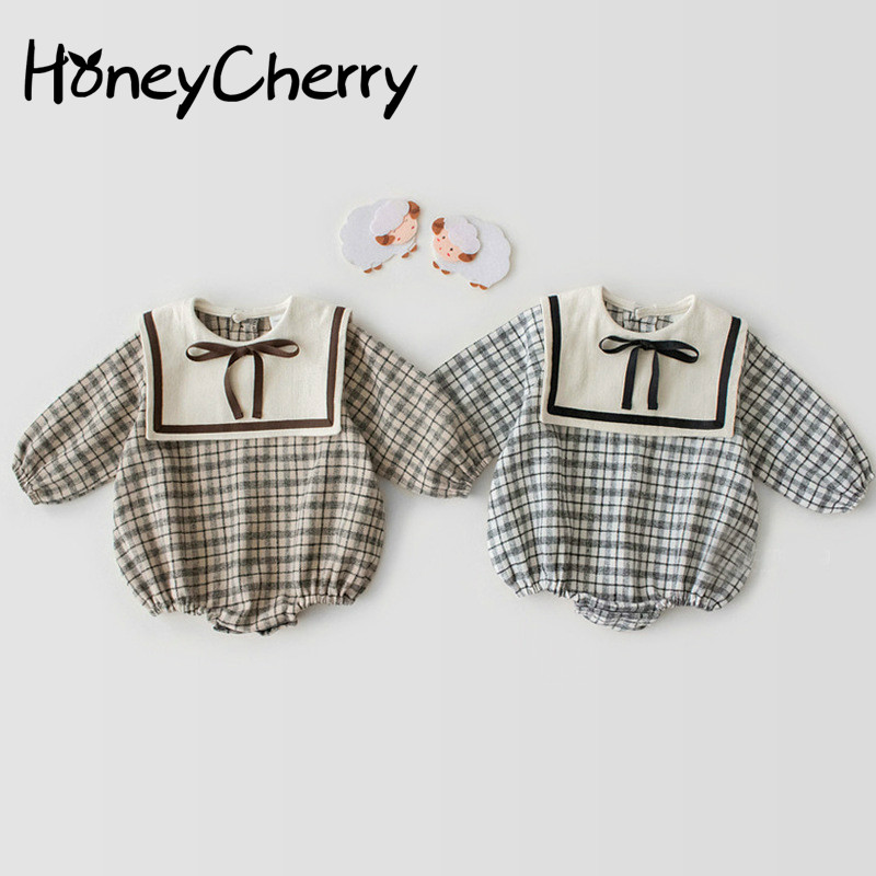 2020 Spring Baby Girl Bodysuits New Plaid Long-sleeved Leotard Baby Baby Climbing Clothes Bodysuit Navy Wind
