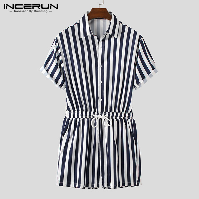 Fashion Men Striped Rompers Short Sleeve Button Shorts Lapel Jumpsuit Drawstring Streetwear 2021 Casual Playsuit Hombre INCERUN 6