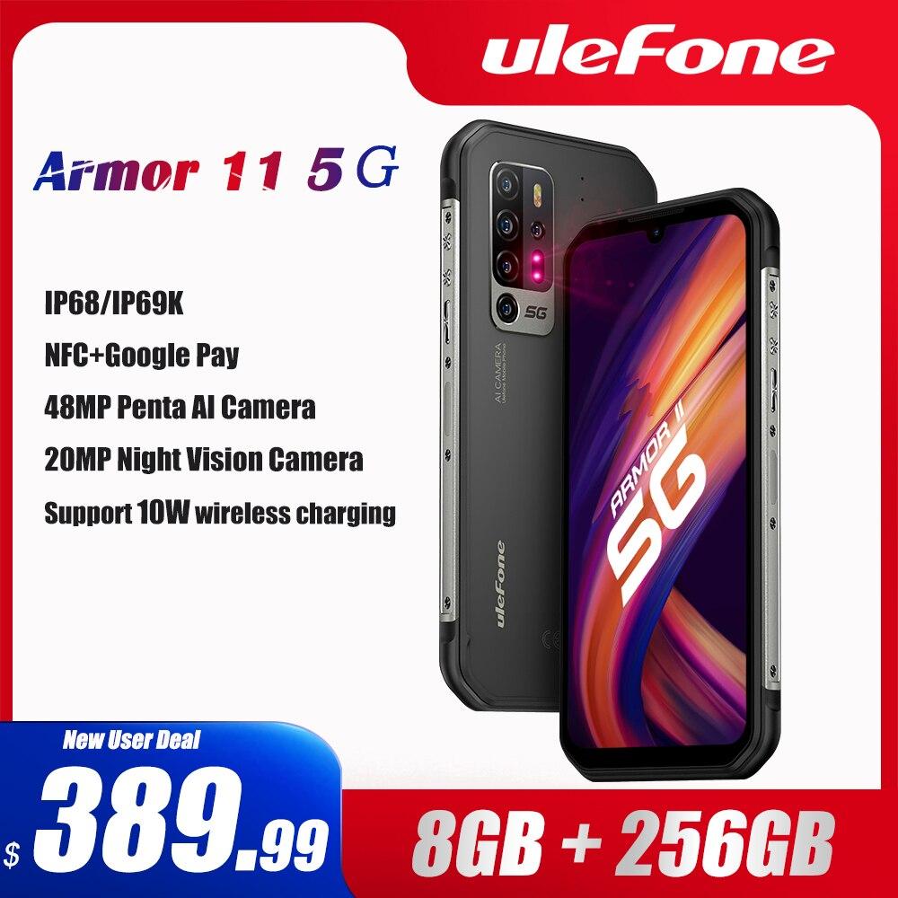 Ulefone Armor 11 5G прочный мобильный телефон Android 10 8 ГБ + 256 ГБ Водонепроницаемый смартфон 48MP NFC мобильный телефон Беспроводной зарядки