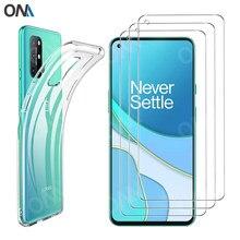 3 + 1 temperli cam + kılıfı için OnePlus 8T / 8T artı 5G silikon kutu örtüsü OnePlus 8T artı 1 + 8T ekran koruyucu