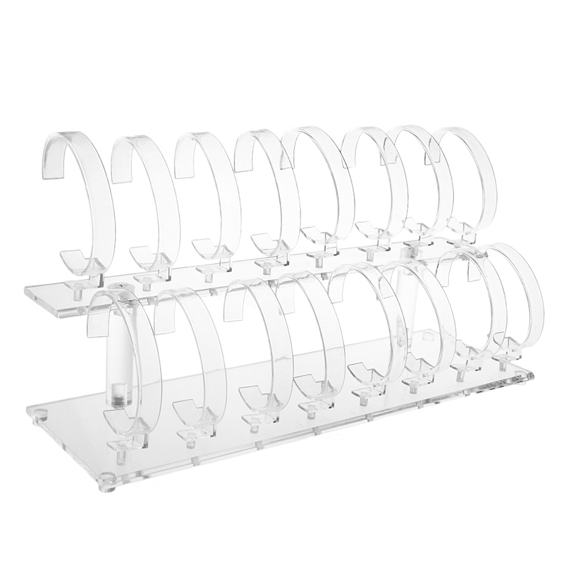 1 Set 2-Tier Fashion Clear Acrylic Wrist Watch Bracelet Display Rack Stand Holder