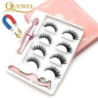 Quewel Magnetische Wimpern Eyeliner Set 25mm Falsche Wimpern & Magnetische Eyeliner & Pinzette 4 Paare/schachtel Bequem Lange Make-Up Kit
