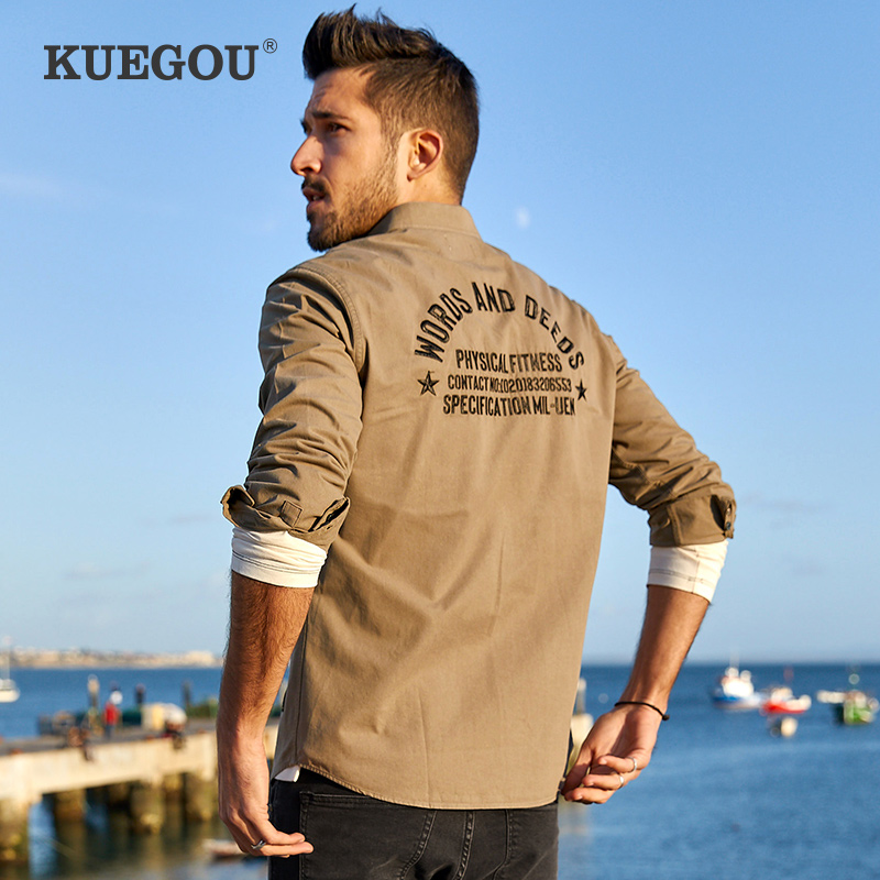 Kuegou Brand Men's Long Sleeve Shirts Men Fall Casual And Comfortable Cotton Embroidery Fashion Men's Shirts BC-6876