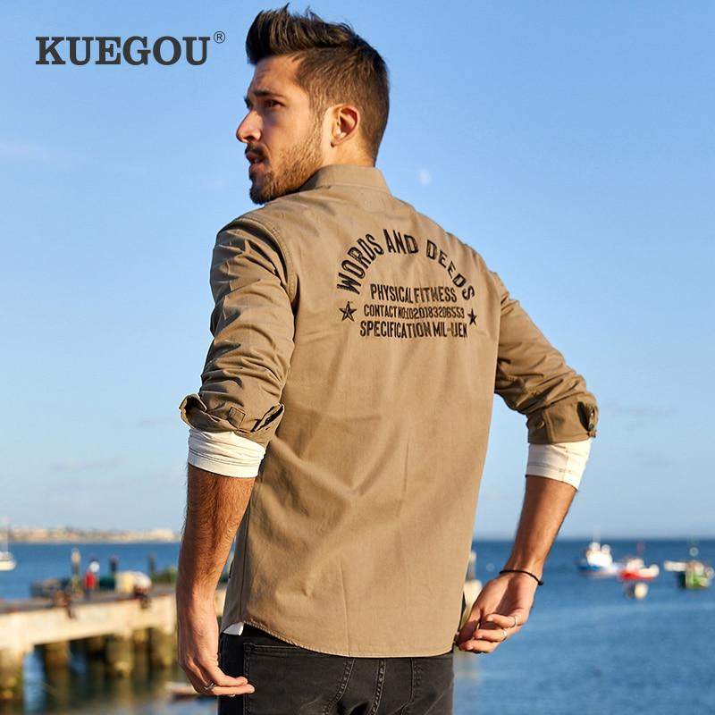 Kuegou Brand Men's Long Sleeve Shirts Men Fall Casual And Comfortable Cotton Embroidery Fashion Men's Shirts BC-6876