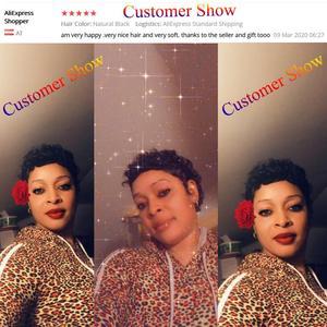 Image 5 - Kurz Menschliches Haar Perücken Bob Perücke Für Schwarze Frauen Brasilianische Remy Haar Perücke Für African American Flauschigen Lockiges Freies Shipp HANNE Haar