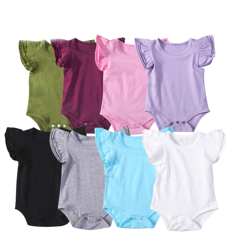 0-24Months Ruffle Short Sleeve Bodysuit For New Born Infant Baby Girls Solid Color Bodysuits