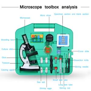 Image 5 - Цифровой микроскоп 1200X, набор аксессуаров для детей, подарок для студентов, цельнометаллический белый микроскоп 100X 600X 1200X