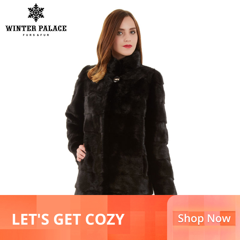 Manteau de fourrure mince mode hiver col montant vison naturel bonne qualité manteau de fourrure de vison femmes naturel noir manteau de vison
