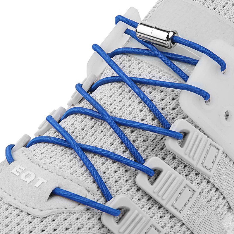 No Tie Shoelace Round Metal Locking Quick Safety Elastic Shoelaces Outdoor Leisure Sneakers Unisex Lazy Laces 1 Pair