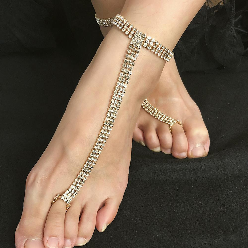 2020 New Gold Rhinestones Porn BDSM Bondage Anklet Socks Sexy Lingerie Sexy Party Game Erotic Costumes Sex Accessories For Women