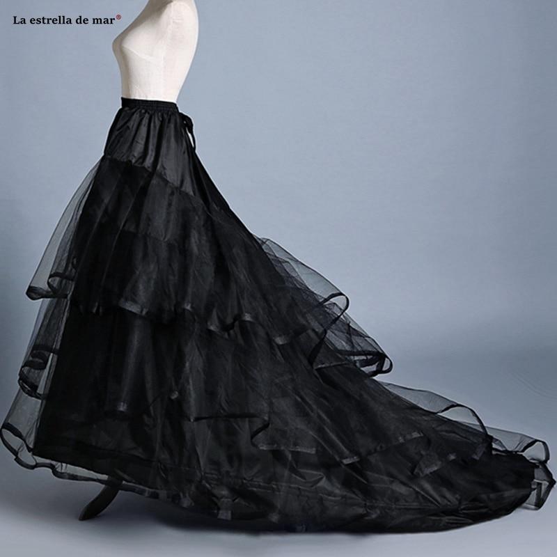 Vestidos Para Boda New Black Ivory Tulle 2 Hoop Trailing Petticoat Stock Jupon Mariage Cheap Rockabilly Dress