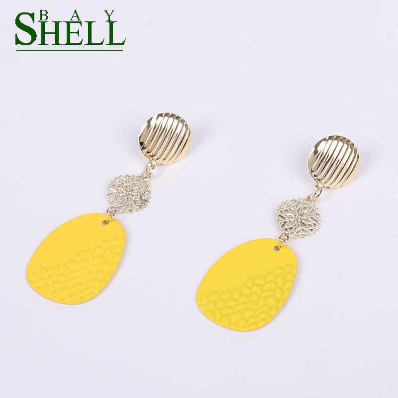 Shell Bay Statement Long Earrings For Women Fashion Geometric Punk Gold Sequin Metal Vintage Cute Drop Earrings Brincos Jewelry