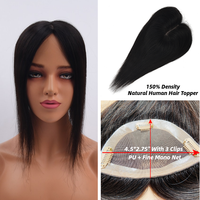 MW Virgin Clip On Top Hair Pieces Straight Remy Natural Human Hair Topper Wigs 16 150% Density Natural Color Toupee For Women