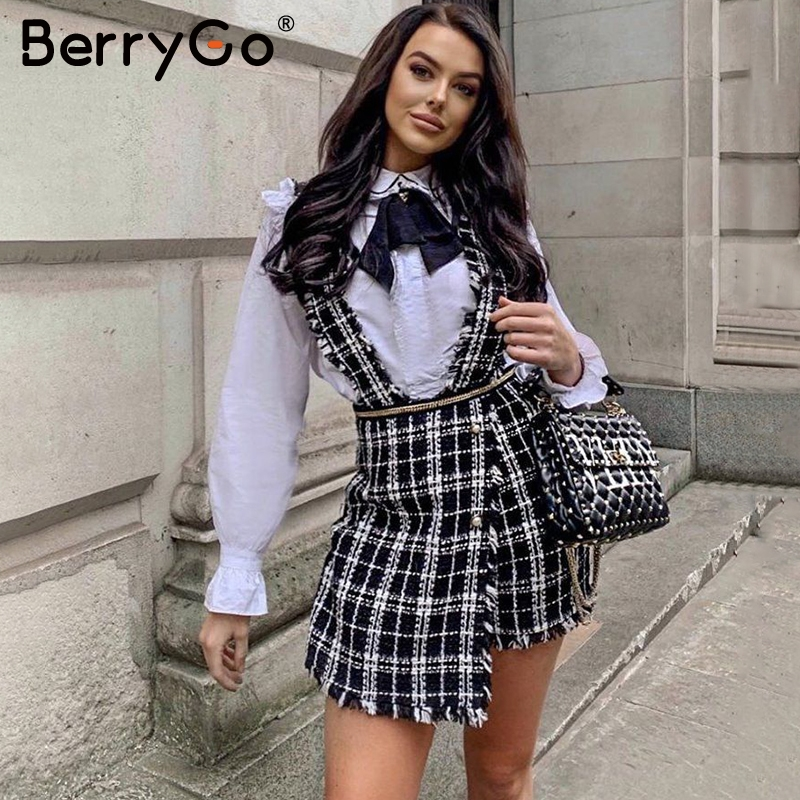 BerryGo  A-line Tweed Plaid Women Skort Autumn Winter Casual Ladies Short Party Skirt Spaghetti Strap Female Mini Overalls Skirt
