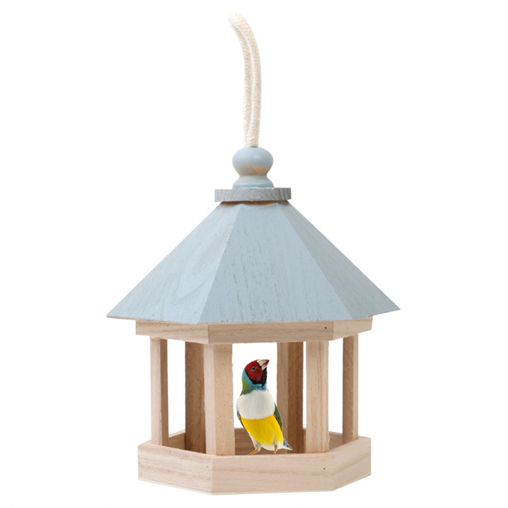Bird Feeder Wooden Box Bird House Pearl Parrot Hamster Small Animal Cage Birds Breeding Blue Wall-mounted Outdoor Birdhouse