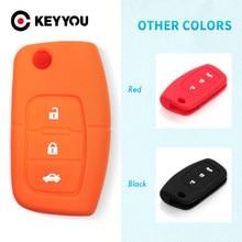 Keyyou Siliconen Car Auto Remote Fob Key Holder Case Cover Voor Ford Focus Fiesta Vele Kleuren