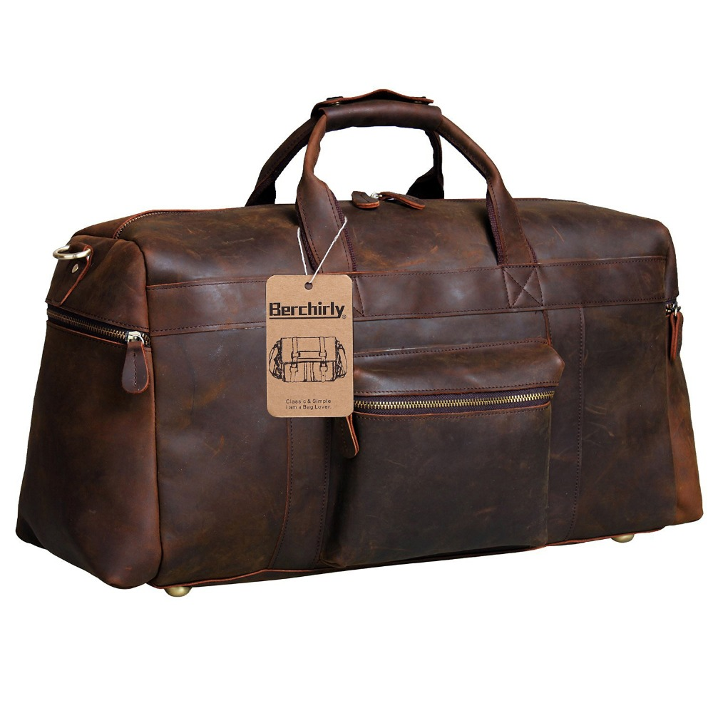 Berchirly Vintage Crazy Horse Genuine Leather bag men duffle bag luggage travel bag Natural Cowhide Large Weekend Bag Hangbag-in Travel Bags from Luggage & Bags    2