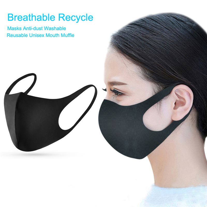 Anti Dust Mouth Mask Washable Reusable Moto Black Polyester Fiber Masks Motorcycle Face Mask Shield Mascarilla For Men Women
