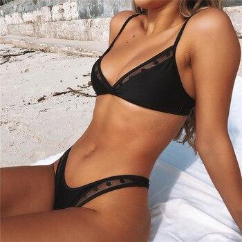 Swimwear Women Sexy Black Mesh Bikini 2020 Female Swimsuit Push Up Biquini Bathing Suit Thong Brazilian Bikinis Set Swim Wear 3