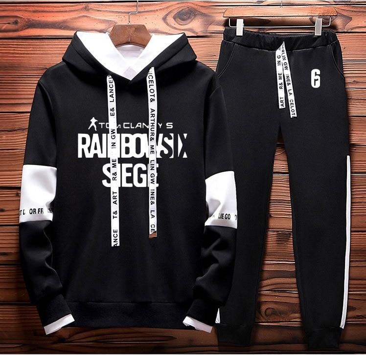 Rainbow Six Siege Hoodies Men Hoody Fleece Sweatshirt Hip Hop Tracksuit Fashion Casual Mens Hoodies Pants Suit 2Pcs Sportwear
