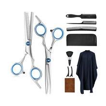 Zestaw nożyczek do cięcia włosów 9 sztuk nożyce do cięcia włosów nożyce do cieniowania grzebień do włosów z brzytwą klipsy Cape fryzjerstwo profesjonalne