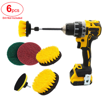 6Pcs Drill Brush Attachment Set Power Scrubber Bathroom Cleaning Kit with Extender Multipurpose Clean for Kitchen Grout - discount item  29% OFF Garden Tools