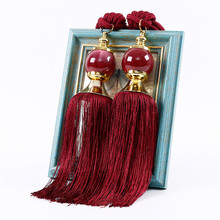 A Pair Curtain Jade Hanging Ball Tassel Strap Large Tie Backs Jade Ball Tassel Curtain Rope Tieback Single Pair Holdbacks New(China)