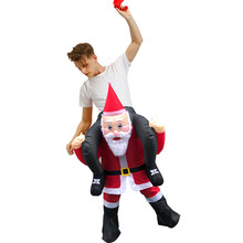 Inflatable Costumes Christmas Cosplay Costume Santa Claus Carry on Me Ride Me with False Legs Disfraz for Adult Man Woman(China)