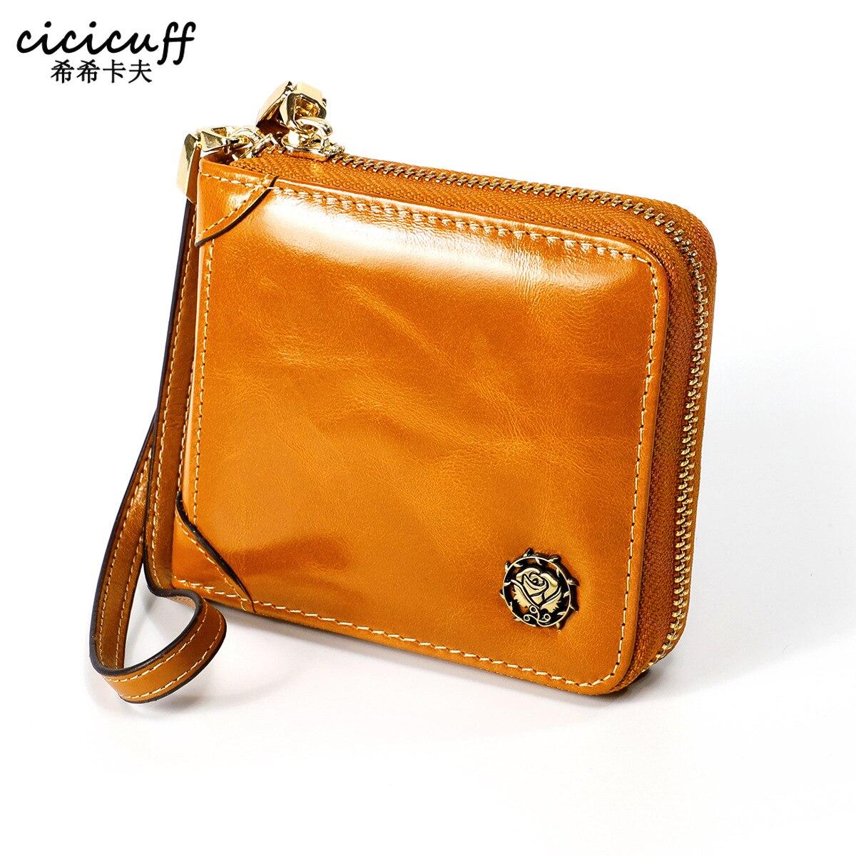 2020 Female Wallet Short Women Wallets RFID Lady Small Cowhide Leather Purse Girl Purses Wax Oil leather Clutch Walet Wristlets