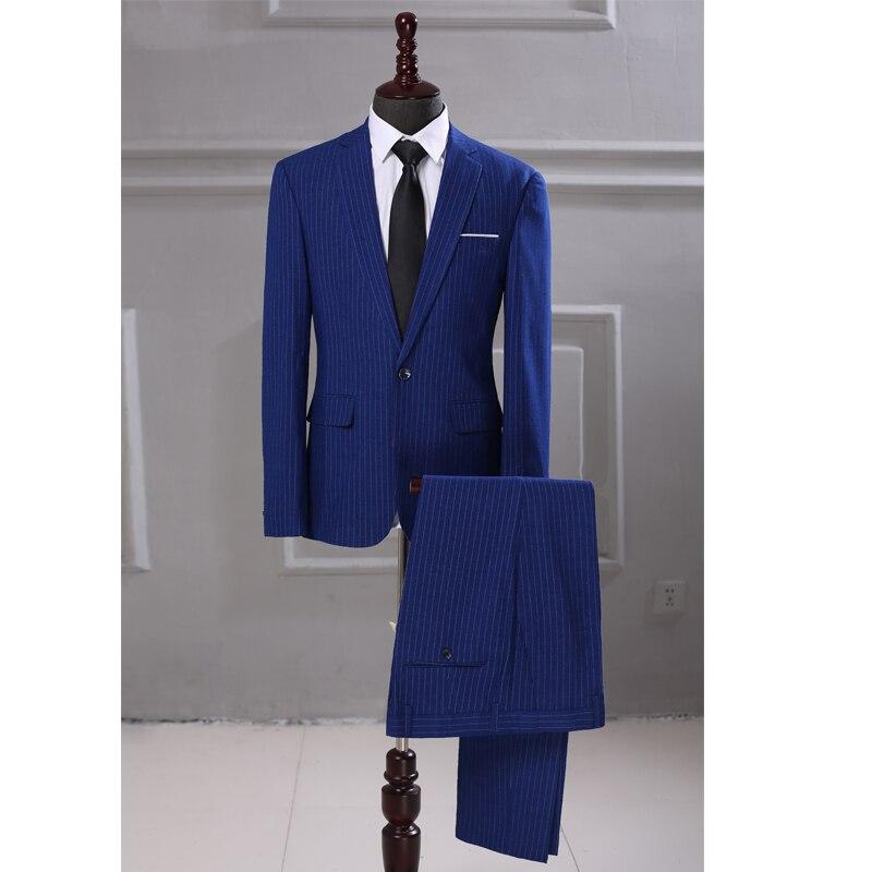 Новинка, мужской костюм в полоску, 2 предмета, приталенный, королевский синий, смокинг, свадебные костюмы, джентльмен, Блейзер, брюки, мужской...