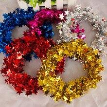 5 м Рождественская вечеринка Золотая Звезда фольга Праздничная проволочная гирлянда украшения вечерние реквизиты