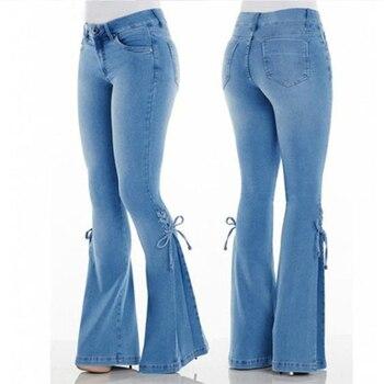 2020 High Waist Jeans Mom Boyfriend Flare Jeans For Women Black Denim Skinny Jeans Woman Wide Leg Female Pants Plus Size Ladies 4