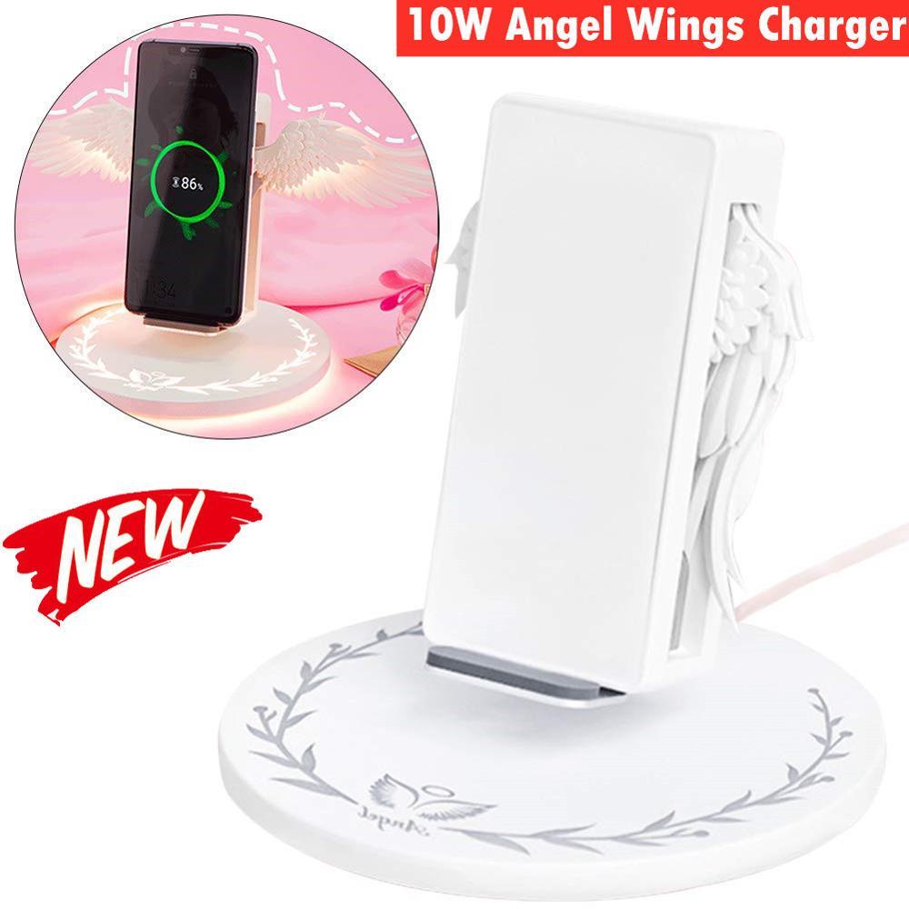 Le Plus récent ange ailes 10W Qi chargeur sans fil pour Iphone X 8 Plus avec lumière LED Charge rapide rapide pour Samsung S10 S9 Xiao mi mi 9
