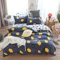 INS Yellow Lemon Grey Bedding Sets Microfiber Brush Polyester Bedlinens Twin Full Queen King Duvet Cover Set Pillowcases