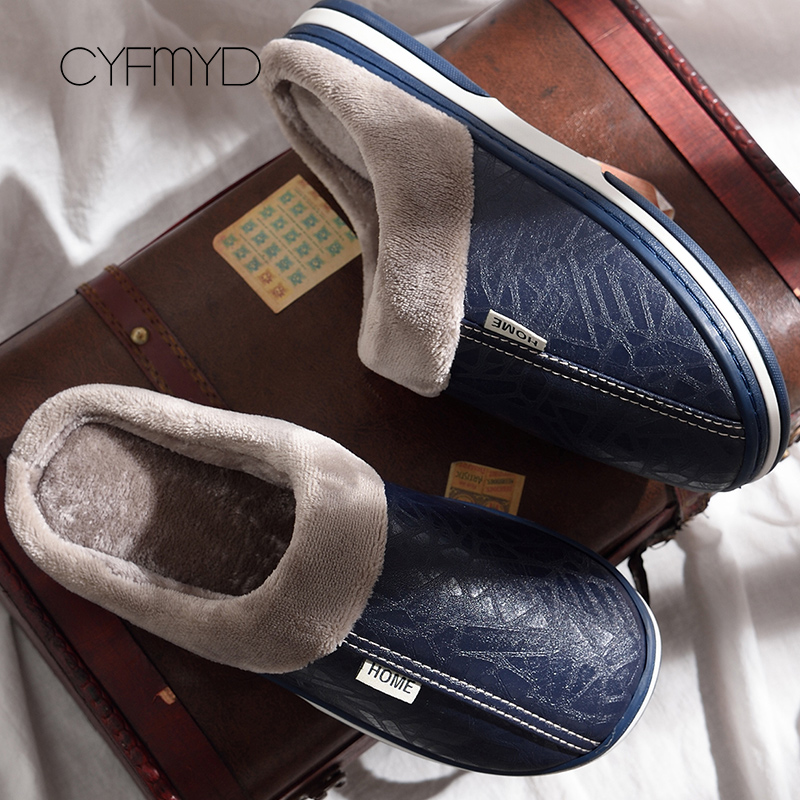 Men Slippers Leather Winter Warm House Slippers Waterproof 2019 Brand Anti Dirty Plush Male Shoes Non-slip Plus Size 7.5-16