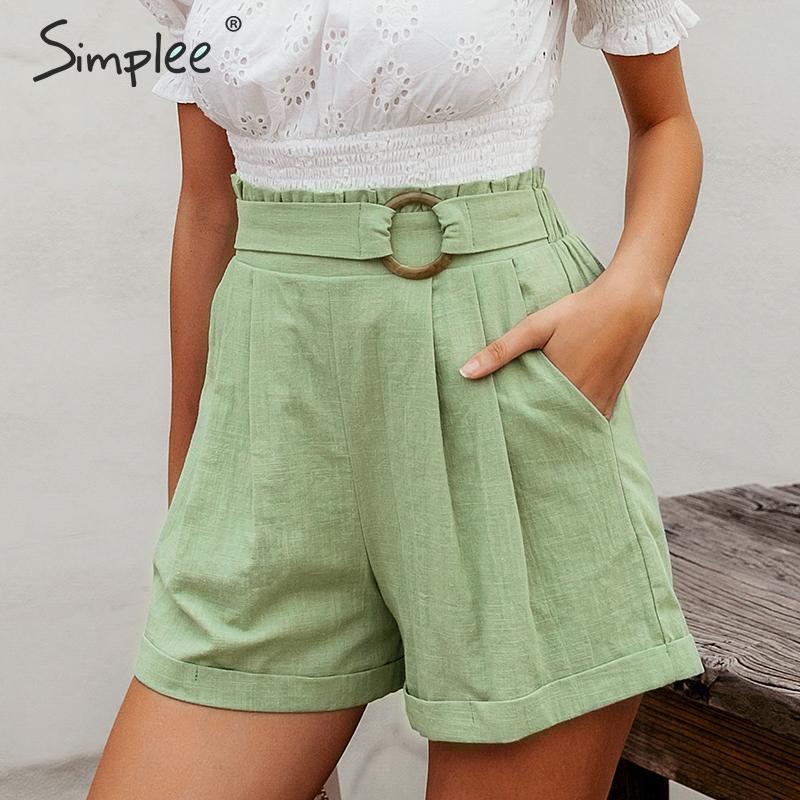 Simplee Casual Women High Waist Shorts Solid Green Summer Beach Style Holiday Ladies Shorts Pocket Ring Blet Sash Ruffles Shorts