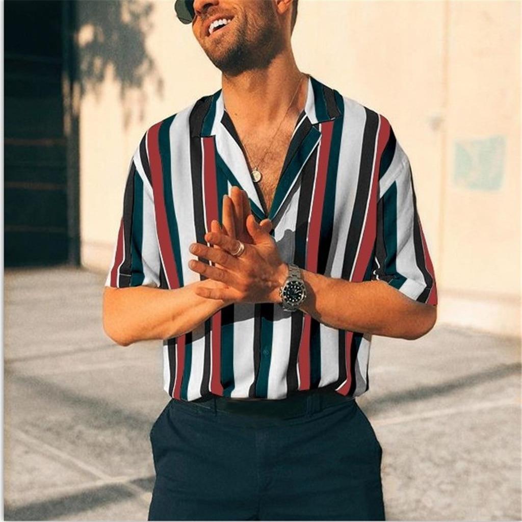 Men Blouse Personality Mens Striped Casual Slim Short Sleeve Printed Shirt Casual Mens Blouse