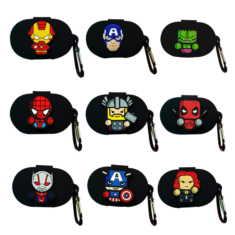 Black Marvel Style Earphone Cover For Redmi Airdots Case With Hook Cute Protection Frame With Hook For Mi Airdots Earphone Case