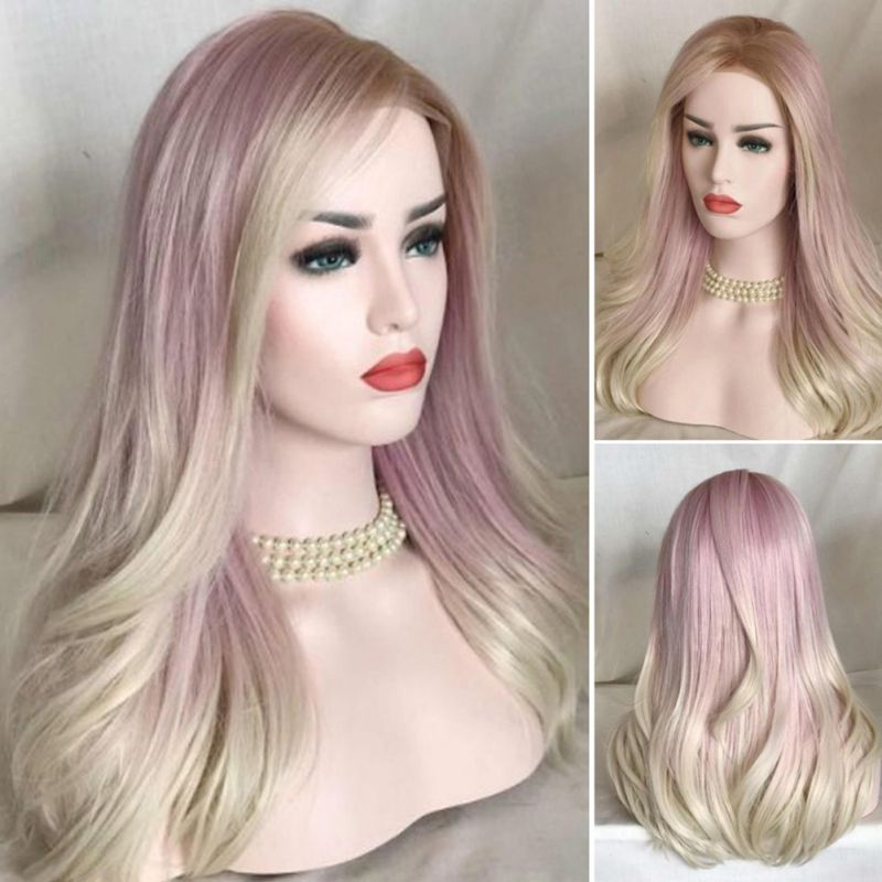 Women Fashion Gradient Pale Pink Medium Long Wavy Hairpiece Dyed Wig Hair Styling Accessory