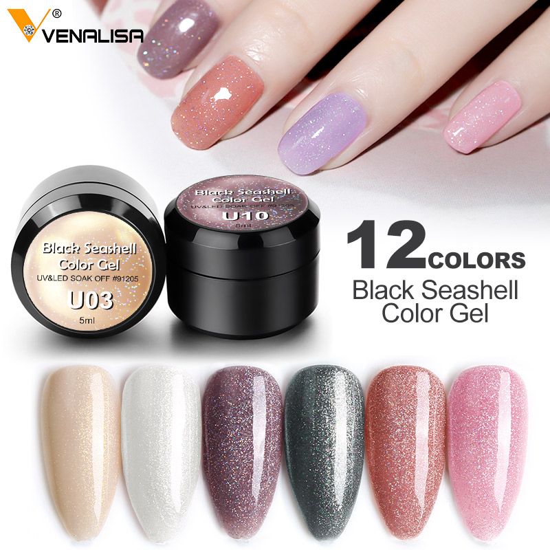 New Nail Art VENALISA Mermaid Opal Pearl Series Seashell Powder Gel Polish Enamel UV Gel Glitter Platinum Nail Polish Lacquer