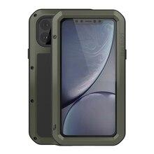 حافظة معدنية مضادة للصدمات ل iPhone11 برو ماكس 12Mini XS XR 7 8 SE Case 360 حماية كامل الجسم طبقة غوريلا جلاس غطاء من الألومنيوم قذيفة
