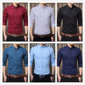 Image 4 - Hot Sale New Fashion Casual Men Shirt Long Sleeve Jacquard Weave Slim Fit Shirt Men Cotton Mens Dress Shirts Men Clothes 5XL