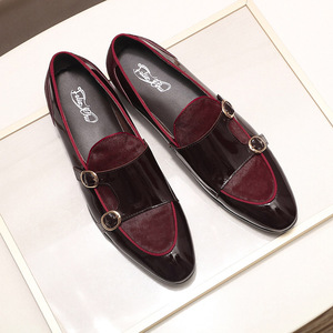 Image 2 - FELIX CHU Mens Wedding Loafers Gentlemen Banquet Party Dress Shoes Patent Leather with Horse Hair Casual Monk Strap Mens Shoes
