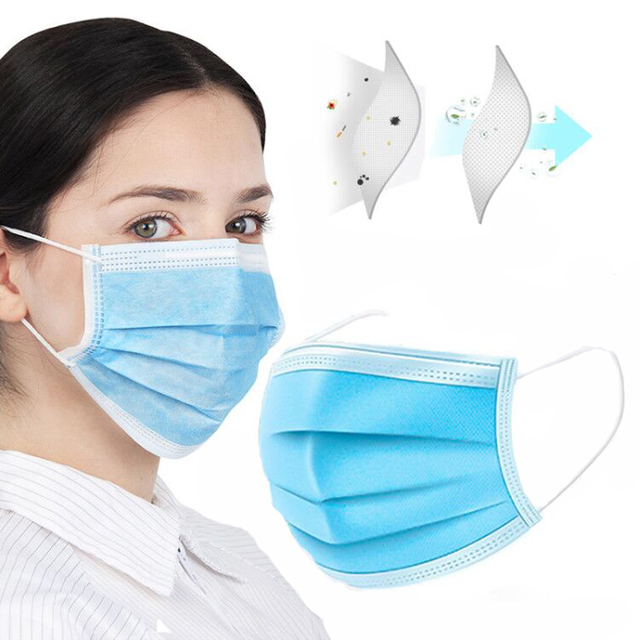 Stock! Disposable Face Mask Flu Protection Mask 3 Layers Anti Dust Breathable Mouth Masks Eyelash Extension Application 1